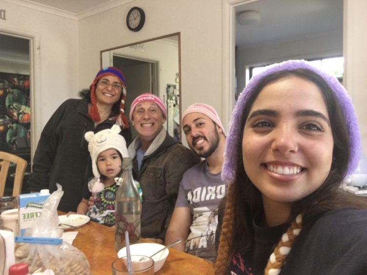 Baras family wearing Frozen beanies